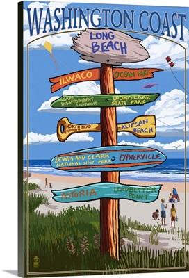 Long Beach, Washington - Sign Destinations: Retro Travel Poster