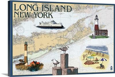 Long Island, New York - Nautical Chart: Retro Travel Poster