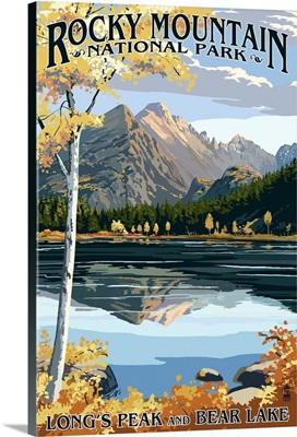 Longs Peak and Bear Lake Fall - Rocky Mountain National Park: Retro Travel Poster