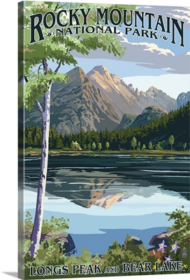 Longs Peak and Bear Lake Summer- Rocky Mountain National Park: Retro Travel Poster