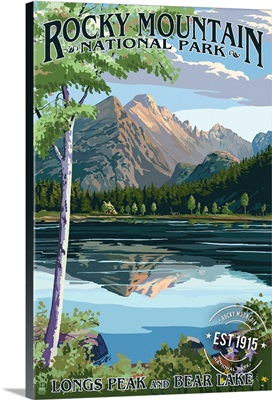 Longs Peak and Bear Lake Summer- Rocky Mountain National Park, Rubber Stamp