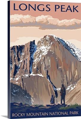 Longs Peak - Rocky Mountain National Park: Retro Travel Poster