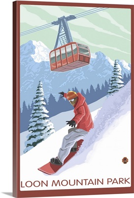 Loon Mountain Park - Snowboarder and Tram: Retro Travel Poster