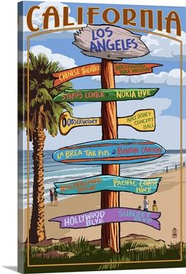 Los Angeles, California - Destination Sign: Retro Travel Poster