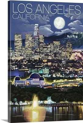 Los Angeles, California - Los Angeles at Night: Retro Travel Poster