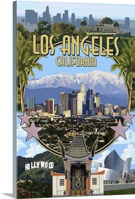 Los Angeles, California - Montage: Retro Travel Poster