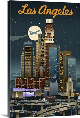 Los Angeles, California - Retro Skyline: Retro Travel Poster