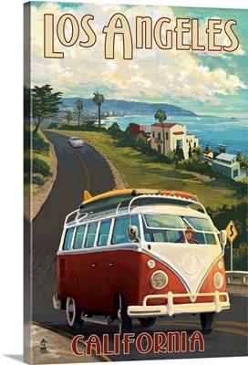 Los Angeles, California - VW Van Cruise: Retro Travel Poster