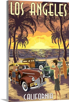 Los Angeles, California - Woodies and Sunset: Retro Travel Poster