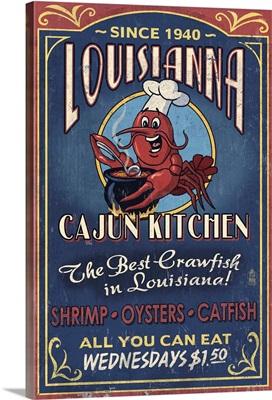 Louisiana - Cajun Kitchen Crawfish Vintage Sign: Retro Travel Poster