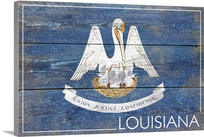 Louisiana State Flag on Wood