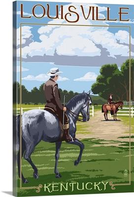 Louisville, Kentucky - Horse Riders : Retro Travel Poster