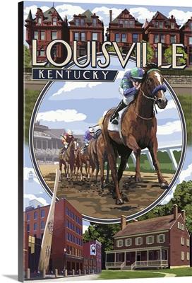 Louisville, Kentucky - Montage Scenes: Retro Travel Poster