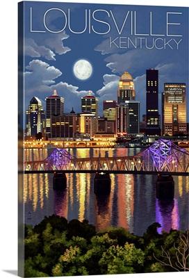 Louisville, Kentucky - Skyline at Night: Retro Travel Poster