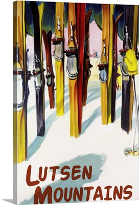 Lutsen Mountains - Colorful Skis: Retro Travel Poster