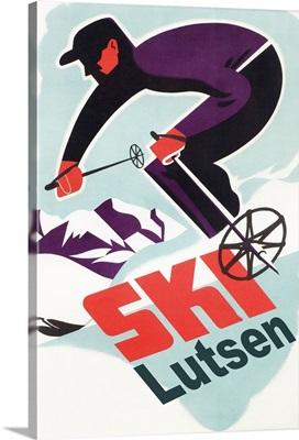 Lutsen Mountains, Minnesota -Retro Skier: Retro Travel Poster