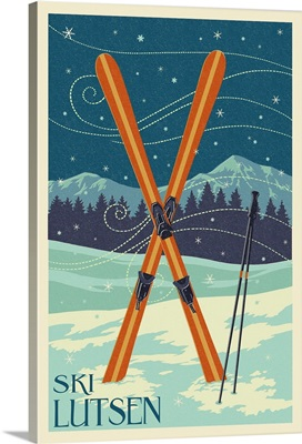 Lutsen Mountains, Minnesota - Ski Letterpress: Retro Travel Poster