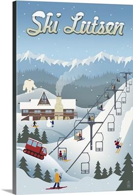 Lutsen Mountains - Retro Ski Resort : Retro Travel Poster
