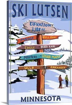 Lutsen Mountains  - Ski Signpost: Retro Travel Poster