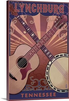 Lynchburg, Tennessee - Guitar and Banjo Music: Retro Travel Poster
