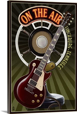 Lynchburg, Tennessee - Guitar and Microphone: Retro Travel Poster