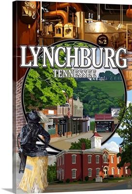 Lynchburg, Tennessee - Town Scenes: Retro Travel Poster