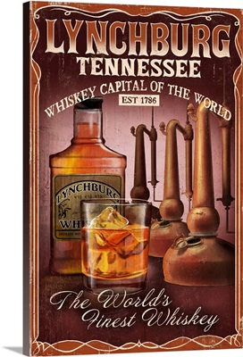 Lynchburg, Tennessee - Whiskey Vintage Sign: Retro Travel Poster