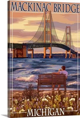 Mackinac Bridge and Sunset, Michigan: Retro Travel Poster