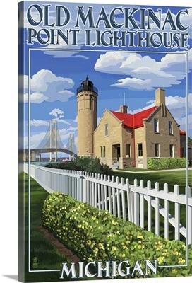 Mackinac Island, Michigan - Old Mackinac Lighthouse: Retro Travel Poster