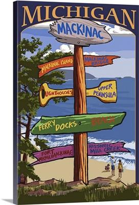 Mackinac, Michigan - Sign Destinations: Retro Travel Poster