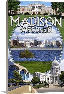 Madison, Wisconsin - Montage Scenes: Retro Travel Poster