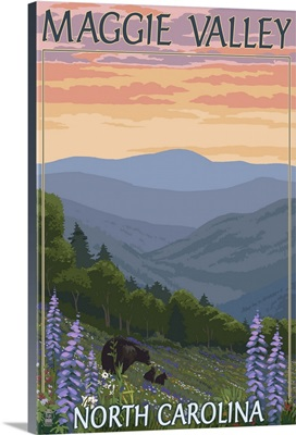Maggie Valley, North Carolina - Bear Family and Spring Flowers: Retro Travel Poster