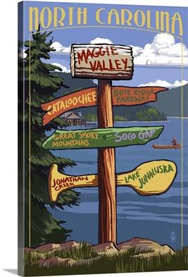 Maggie Valley, North Carolina - Sign Destinations: Retro Travel Poster