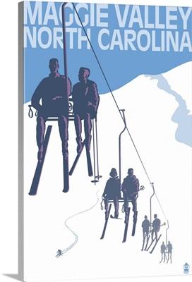 Maggie Valley, North Carolina - Ski Lift Scene: Retro Travel Poster