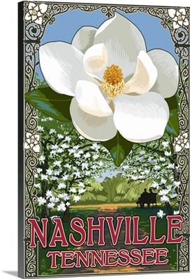 Magnolias - Nashville, Tennessee: Retro Travel Poster