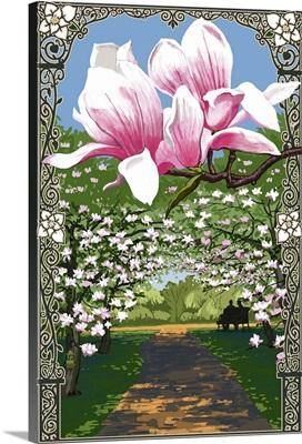 Magnolias: Retro Poster Art