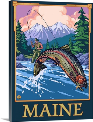 Maine - Angler Fisherman Scene: Retro Travel Poster
