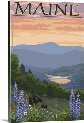 Maine - Bear and Cubs in Spring Flowers: Retro Travel Poster