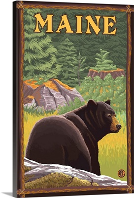 Maine - Black Bear in Forest: Retro Travel Poster