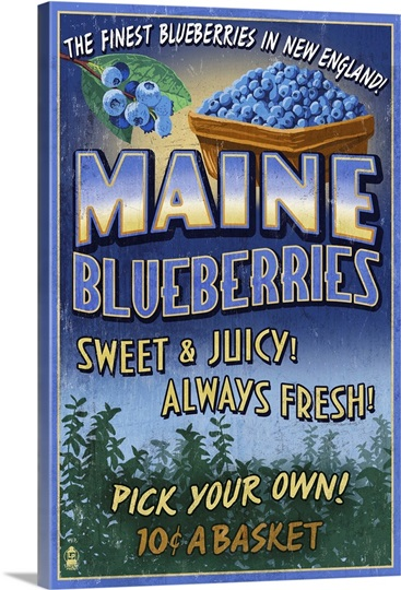 Maine Blueberries Vintage Sign Retro Travel Poster Wall