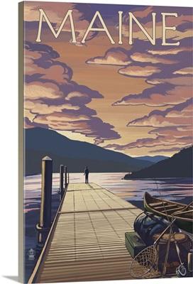 Maine - Dock and Sunset Scene: Retro Travel Poster