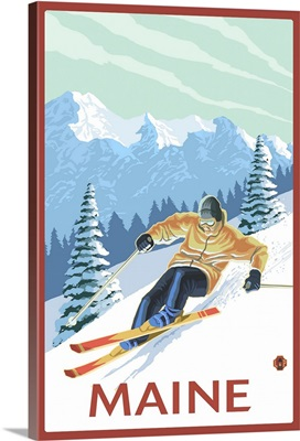 Maine - Downhill Skier Scene: Retro Travel Poster