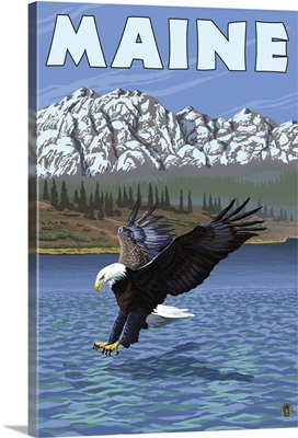 Maine - Eagle Fishing: Retro Travel Poster