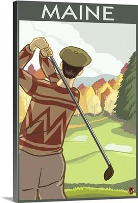 Maine - Golfing Scene: Retro Travel Poster