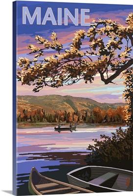 Maine - Lake at Dusk: Retro Travel Poster