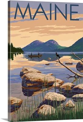 Maine - Lake Scene and Canoe: Retro Travel Poster