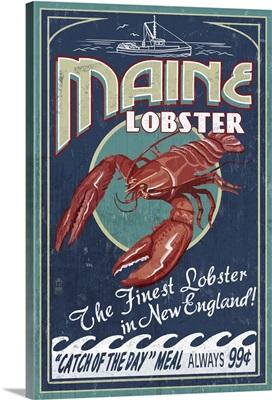 Maine Lobster Vintage Sign: Retro Travel Poster
