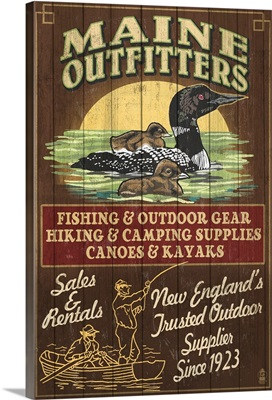 Maine - Loon Outfitters Vintage Sign: Retro Travel Poster