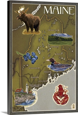 Maine Map and Icons: Retro Travel Poster