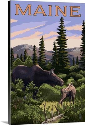 Maine - Moose and Baby Scene: Retro Travel Poster